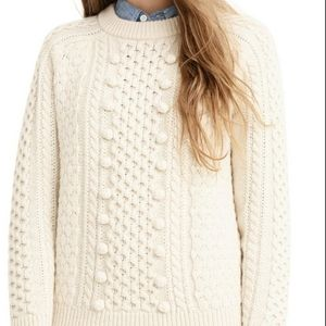 J.CREW Cream Popcorn Cable-Knit Sweater Lambswool